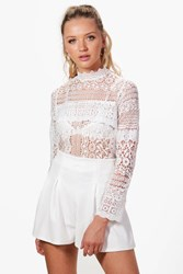 Boohoo Bella High Neck Panel Lace Top Ivory