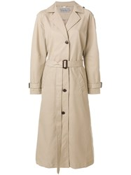 Ck Calvin Klein Jeans Belted Trench Coat Cotton Polyester Lyocell Nude Neutrals