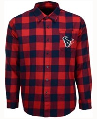 Forever Collectibles Men's Houston Texans Large Check Flannel Button Down Shirt Navy Red Plaid