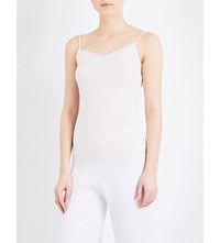 The White Company Lace Trim Stretch Jersey Camisole Pale Pink
