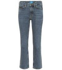 Mih Jeans Daily Crop High Rise Straight Blue