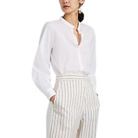 Barneys New York Cotton Voile Puff Sleeve Blouse White