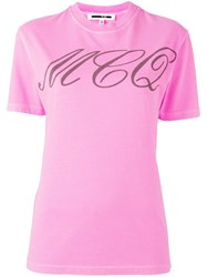 Mcq By Alexander Mcqueen Tattoo Print T Shirt Pink Purple