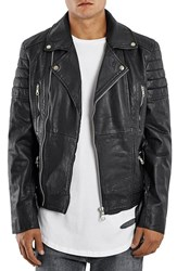 Men's Topman Washed Leather Moto Jacket With Waist Belt