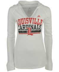 Adidas Women's Louisville Cardinals Weathering Hooded T Shirt White