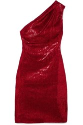 Haney Valentina One Shoulder Sequined Stretch Tulle Mini Dress Red