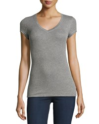 Bcbgmaxazria Liana Ribbed V Neck Tee Heather Gray