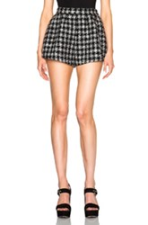 Red Valentino Tweed Short In Checkered And Plaid Black