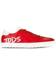 Tod's Logo Detail Sneakers Red