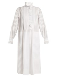 Sonia Rykiel Striped Cotton Voile High Neck Dress White