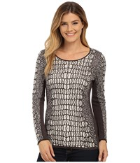 Nic Zoe Tiles Jacquard Top Sandshell Mix Women's T Shirt Gray