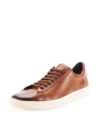 Tom Ford Russel Calf Leather Low Top Sneaker Light Brown