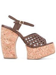 Paloma Barcelo Woven Platform Sandals Brown