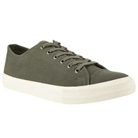 John Lewis Washed Canvas Lace Up Trainers Olive