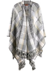 Missoni Plaid Knit Poncho Grey