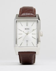 Hugo Boss Square Face Leather Watch In Brown Black
