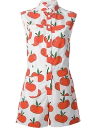 Au Jour Le Jour Apple Print Playsuit White