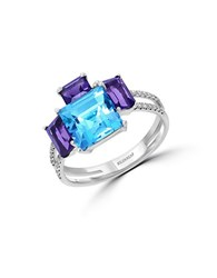 Effy Mosaic 14K White Gold And Multi Colored Stone Ring Blue