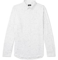 Club Monaco Slim Fit Button Down Collar Slub Cotton Blend Flannel Shirt White
