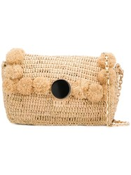 Vanessa Bruno Woven Pom Pom Shoulder Bag Neutrals