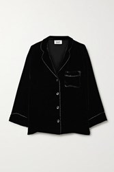 Sleepy Jones Marina Atleisure Grosgrain Trimmed Velvet Pajama Shirt Black