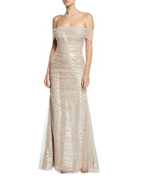 Rickie Freeman For Teri Jon Off The Shoulder Tulle Gown W Sequin Embroidery Taupe