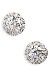 Nordstrom Women's Round 3.48Ct Tw Cubic Zirconia Stud Earrings Round Sterling Platinum