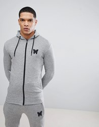 Good For Nothing Muscle Butterfly Hoodie In Grey