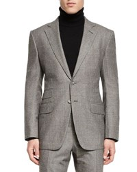 Tom Ford O'connor Base Windowpane Two Piece Suit Ivory Black Ivory Black
