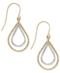 Macy's Two Tone Double Teardrop Textured Drop Earrings In 10K Yellow And White Gold Two Tone