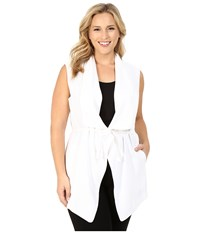 Nydj Plus Size Plus Size Sleeveless Cascade Jacket Optic White Women's Coat