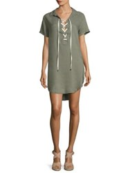 Rails Small Wing Collar Rocky Lace Up Dress Sage