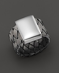 Roberto Coin Ruthenium Plated Sterling Silver Woven Ring