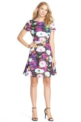 Betsey Johnson Floral Scuba Fit And Flare Dress