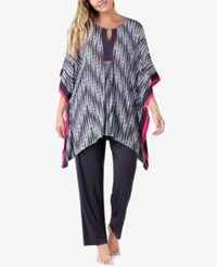 Ellen Tracy Plus Size Caftan Top And Pants Knit Pajama Set Charcoal