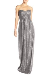 Women's Nouvelle Amsale 'London' Sequin Tulle Strapless Sequin Column Gown Gunmetal