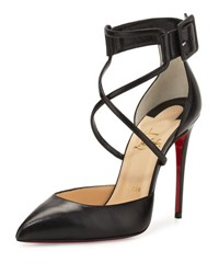 Christian Louboutin Suzanna Leather Crisscross Red Sole Pump Black