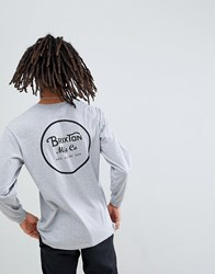 Brixton Wheeler Long Sleeve T Shirt With Back Print In Grey