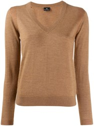 Paul Smith Ps Knitted V Neck Top Brown