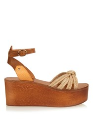 Isabel Marant Zia Wooden Flatform Sandals Cream