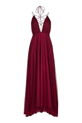 Topshop Tulle Lace Up Maxi Dress Berry Red