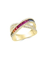 Bloomingdale's Multicolor Sapphire And Diamond Crossover Ring In 14K Yellow Gold 100 Exclusive Multi Gold
