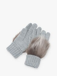 French Connection Faux Fux Trim Gloves Dove Grey