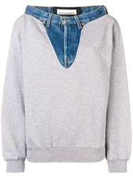 Night Market Denim Detail Patchwork Sweatshirt Grey
