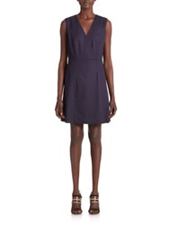 Tory Burch Stretch Wool Suiting Dress Med Navy