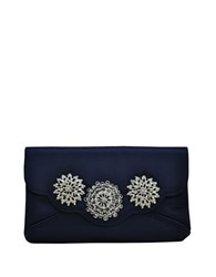 La Regale Rhinestone Floral Accented Satin Clutch Navy Blue