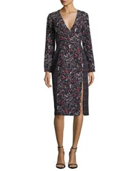 J. Mendel Mixed Print Long Sleeve Dress Black Blue Black Blue