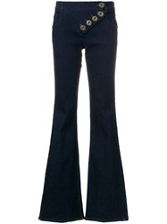 Chloe Asymmetric Flared Jeans Cotton Polyester Polyurethane Blue