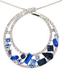 Sis By Simone I Smith Blue And White Crystal Circle Pendant Necklace In Platinum Over Sterling Silver