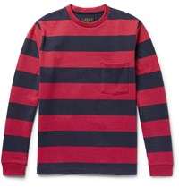Beams Plus Striped Cotton Jersey T Shirt Red